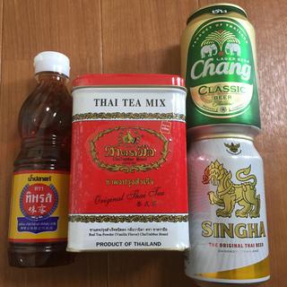 タイ4点セット☆タイティー ナンプラー シンハービール チャーンビール(茶)