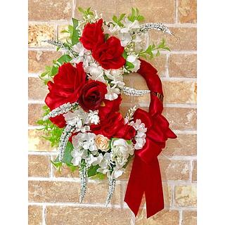 赤い薔薇とリボンのリース♡(リース)