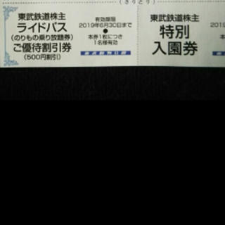 送料込1枚★東武動物公園特別入園券+ライドパス割引券★東武鉄道株主優待★ (動物園)