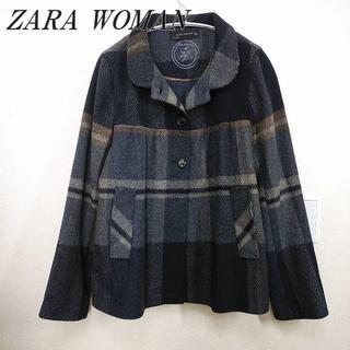 ザラ(ZARA)のZARA ウールジャケット ショートコート ネイビー チェック レディース(その他)