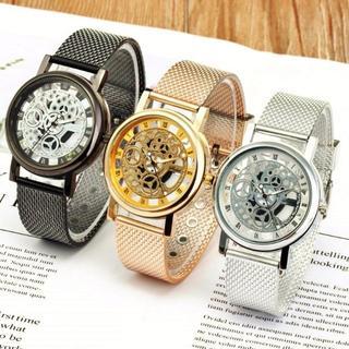 3カラー IMPORT スケルトン ブラック メンズ 腕時計 金属ケース(ラバーベルト)