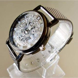 IMPORT スケルトン ブラック ユニセックス 腕時計 金属ケース(ラバーベルト)