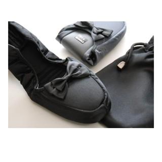 【新品・未開封】携帯スリッパ 黒 LLサイズ(巾着付き)(スリッパ/ルームシューズ)