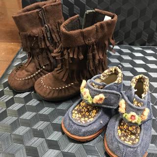 フリンジブーツ、花柄靴(ブーツ)