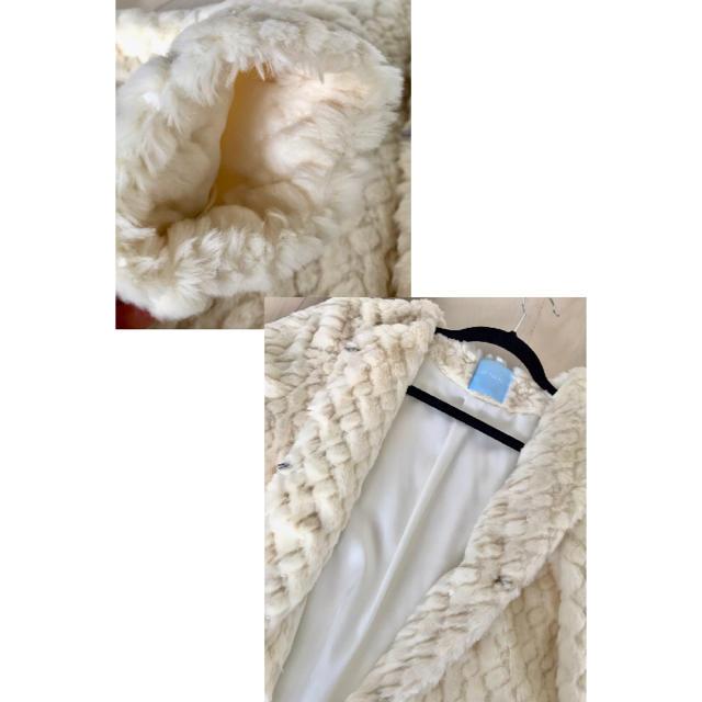 DE TER NL(デターナル)のDE TER NL オフホワイトフェイクファーコート レディースのジャケット/アウター(毛皮/ファーコート)の商品写真