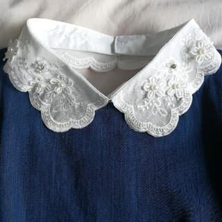 ミラオーウェン(Mila Owen)のインポート❤️パール&ビジュー フラワー刺繍つけ襟(つけ襟)