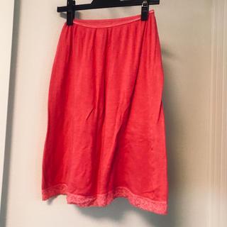 ケイオウヒャッカテン(京王百貨店)の英国製 インナースカート ピンク 裾レース(アンダーシャツ/防寒インナー)
