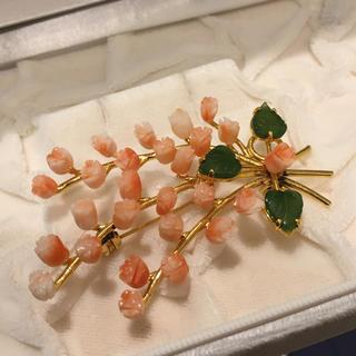 珊瑚 彫刻 ブローチ 薔薇 19Y-43