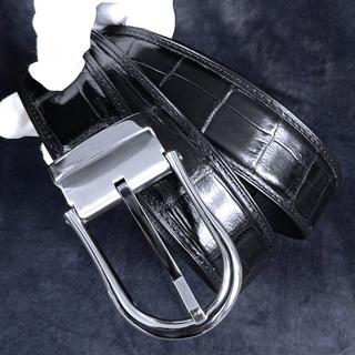 上品★大人気 最高級 クロコダイル×内装牛革 紳士用ベルト ビジネス ワニ革 (ベルト)