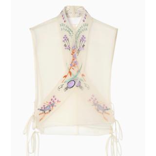 マメ(mame)のmame2019SSエンブロイダリーカラー刺繍付け襟ホワイト(つけ襟)
