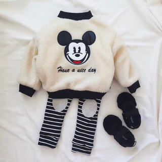 ディズニー(Disney)のミッキー モコモコ ボアブルゾン 裏起毛 ホワイト 90cm(ジャケット/上着)