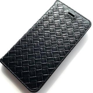 エレコム(ELECOM)のiPhone8/iPhone7用レザーケース★あみこみ調★スタンド★カード入BK(iPhoneケース)