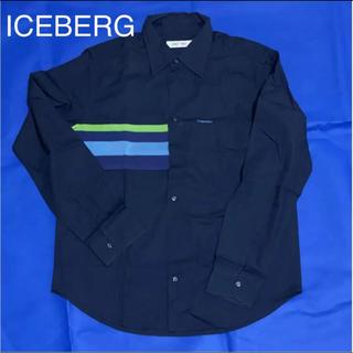 アイスバーグ(ICEBERG)のアイスバーグ メンズシャツ Lサイズ コットンシャツ ネイビー 美品!!(シャツ)