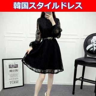 韓国スタイル☆パーティードレス ブラック Mサイズ☆人気の商品です (ミディアムドレス)