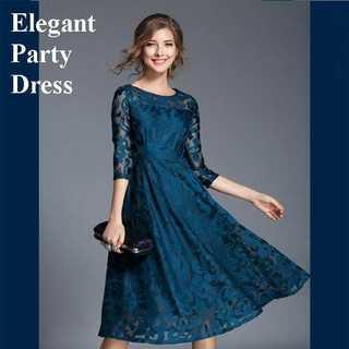 青 L パーティ ドレス ワンピ—ス ブルー ひざ下丈 7分袖 上品 フォーマル(ミディアムドレス)