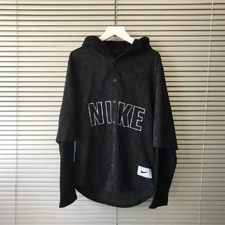 ナイキ(NIKE)のナイキ NIKE Tシャツ フード 重ね着風 ブラック L (Tシャツ/カットソー(七分/長袖))