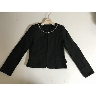 新品■9号(Mサイズ)■ノーカラージャケット石付■ブラック    (ノーカラージャケット)