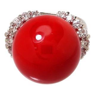 セール中赤珊瑚15.2mm/ダイヤ0.61ct 指輪/リング Pt900(リング(指輪))