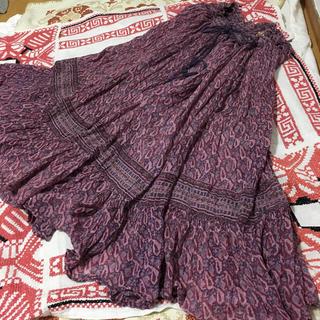 インド綿 ヴィンテージ  スカート ワンピース (ひざ丈スカート)