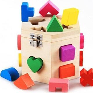 知育玩具立体カラフルパズル積み木木製パズルボックスブロック