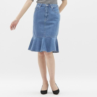 GU - デニムマーメイドミディスカート GU ジーユー 63 BLUE