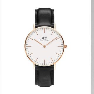 ダニエルウェリントン(Daniel Wellington)のDanielle Wellington 黒ベルト新品 定価22000円(腕時計)