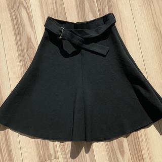 ZARA - ZARA WOMAN フレア Aライン 膝丈 ミニ ベルト付 スカート 黒 XS