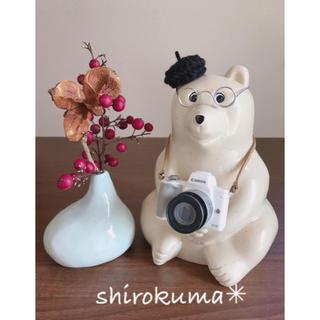 しろくま貯金箱 カメラ・ベレー帽・メガネ 3点セット(インテリア雑貨)