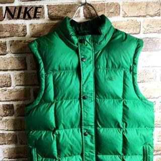ナイキ(NIKE)のアウトドアスタイル! NIKE ダウンベスト ジャケット ロゴ グリーン 緑 L(ダウンベスト)