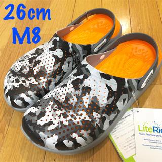 クロックス(crocs)の新品 クロックス ライトライド  M8 26cm シティカモ柄 26.5 限定色(サンダル)
