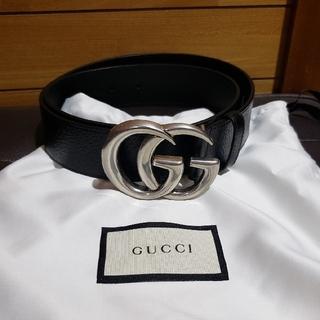 グッチ(Gucci)のグッチ GUCCI GGベルト サイズ80 ブラック&シルバー 美品(ベルト)