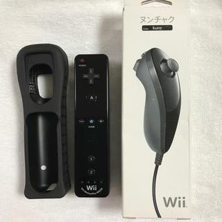 ウィー(Wii)のwii リモコンプラス ヌンチャク(クロ)新品未使用 純正品(家庭用ゲーム本体)