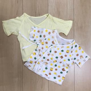 新生児用 短肌着 2枚 ☆ 黄色&動物(肌着/下着)