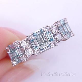 Pt900ブルーダイヤモンド★アイスブルーの妖精さんのリンクリング(リング(指輪))