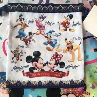 ディズニー(Disney)の再販 新品 ディズニー☆サイン入り キャラクター 巾着 きんちゃく(キャラクターグッズ)