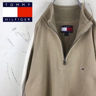 トミーヒルフィガー(TOMMY HILFIGER)の【レア】トミーヒルフィガー ハーフジップコットンニット 90's 古着 ゆるだぼ(ニット/セーター)