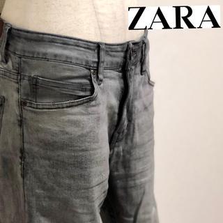 ザラ(ZARA)のザラマン ジーンズ ZARA MAN バイカー デニム ビンテージ加工 美脚 (デニム/ジーンズ)