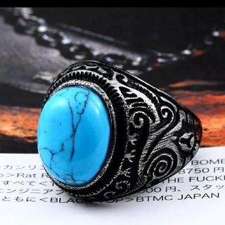 メンズステンレススチール ブルーリング9号(リング(指輪))