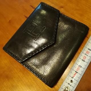 ✨ヒロフ HIROFU 黒色の本革2つ折り財布コインケース付き