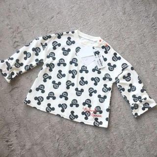 ディズニー(Disney)の新品♡シルエットミッキー柄 袖フリル ロンT 90(Tシャツ/カットソー)