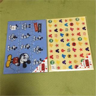 ドキュメントファイル(ボタン付) ミッキー 2枚セット A4 ディズニー(クリアファイル)