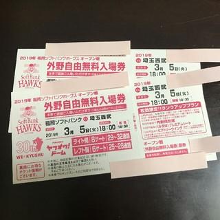 ☆福岡ソフトバンクvs埼玉西武☆  野球観戦チケット 2枚