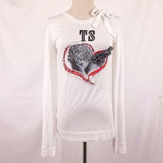 ツインセット(TWIN-SET)のTWIN-SET(ツインセット)ハートの中の天使がキュート!白ロングTシャツ(Tシャツ(長袖/七分))
