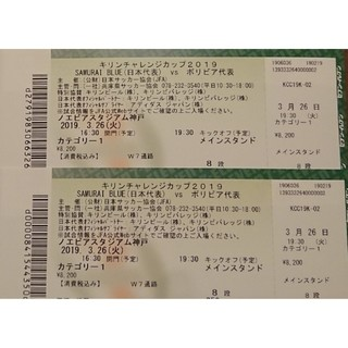 【カテ1 メイン 8列目】日本代表vsボリビア代表 3/26 2枚連番(サッカー)