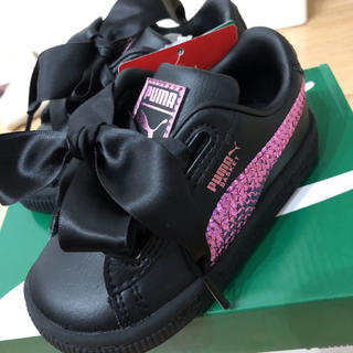 プーマ バスケット 黒 ピンク リボン  スパンコール サテン