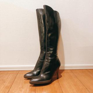 ミュウミュウ(miumiu)のmiumiu レザー ロングブーツ 38.5 (24.5cm)(ブーツ)