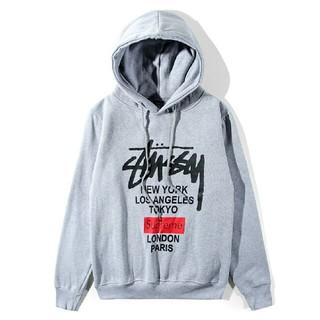 ステューシー(STUSSY)の2019春新品 SUPREME* STUSSYパーカー裏起毛男女兼用XLグレー(パーカー)