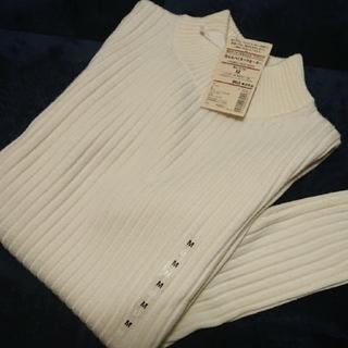 MUJI (無印良品) - 無印良品首のチクチクをおさえたワイドリブ洗えるハイネックセーター/オフ白/M