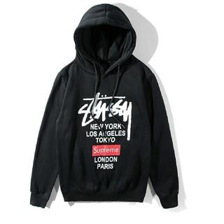 ステューシー(STUSSY)の2019春新品 SUPREME* STUSSYパーカー 裏起毛 男女兼用 L 黒(パーカー)