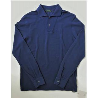 ザノーネ(ZANONE)の新品 秋冬 ZANONE ザノーネ M コットン 長袖ポロシャツ ブルー 正規品(ポロシャツ)